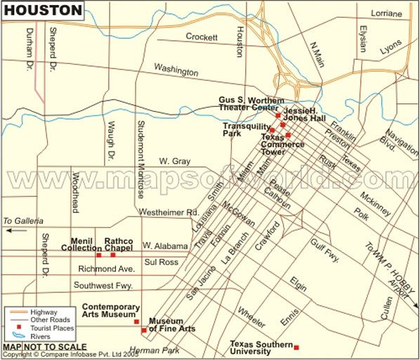 Map Of Houston City Of Usa Showing Major Roads Highways Tourist