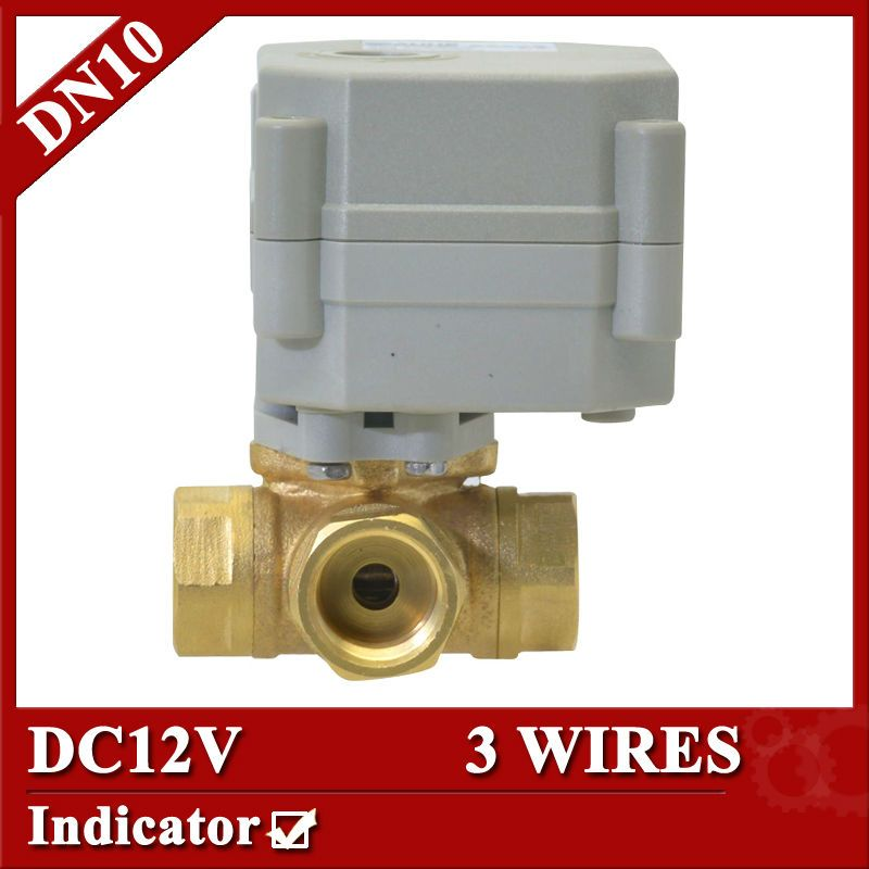 Motorized Ball Valve 3 Way Electric Actuator 3 Wires Dn10 Dc12v Motorized Ball Valve In Brass Mate Water Heating Brass Material Heating And Cooling