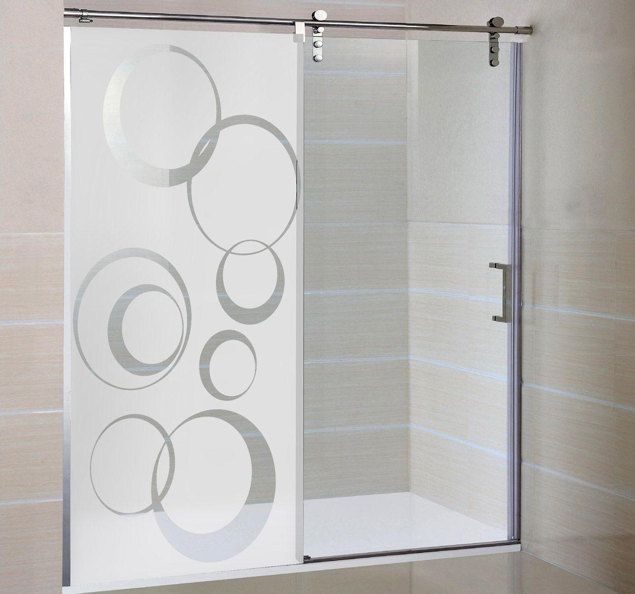 Vinilo decorativo mampara círculos | Duchas de vidrio ...