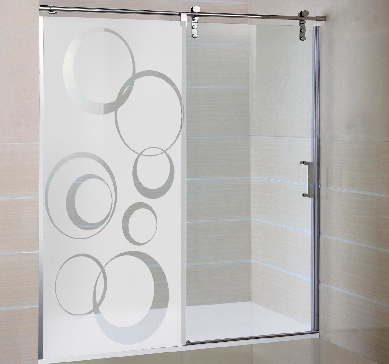 Vinilo decorativo mampara c rculos vinilos ducha - Vinilo para vidrios ...