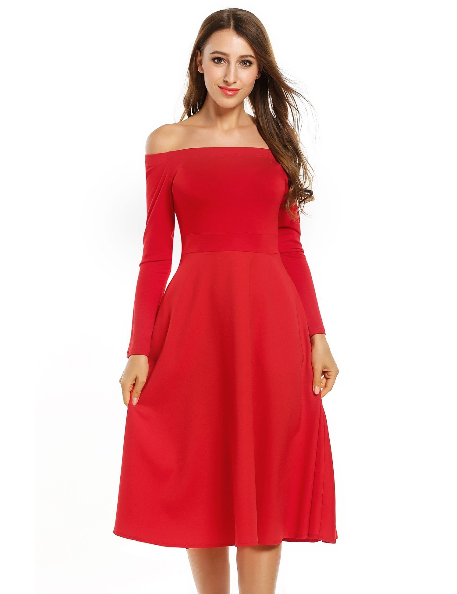 Red womenus off the shoulder long sleeve evening pleated swing midi