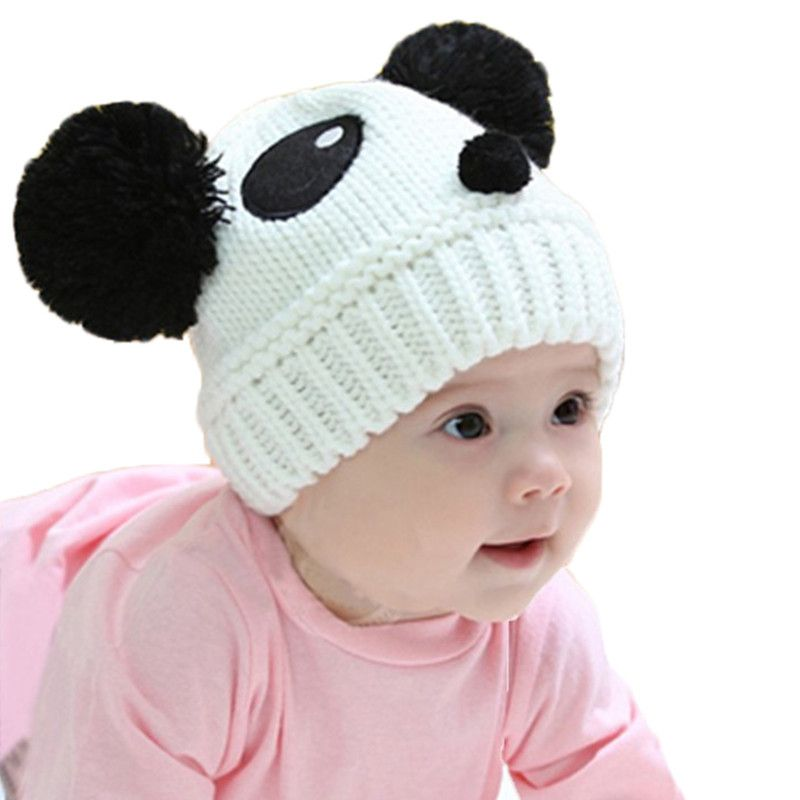 46b19eaca Cartoon Baby Hats Panda Knitted Cap Autumn Winter Warm Newborn Caps ...