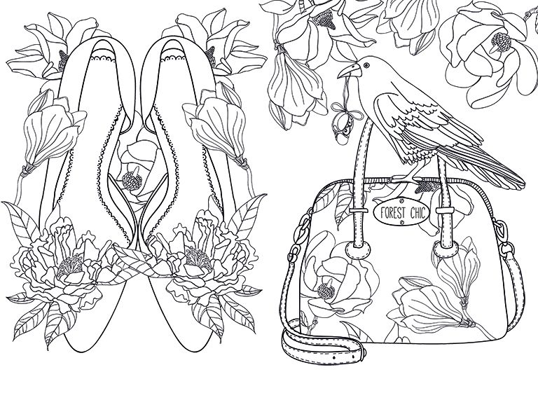 Sam-illustraties shoes and handbag colouring page ✐Adult - copy coloring pages of dance shoes