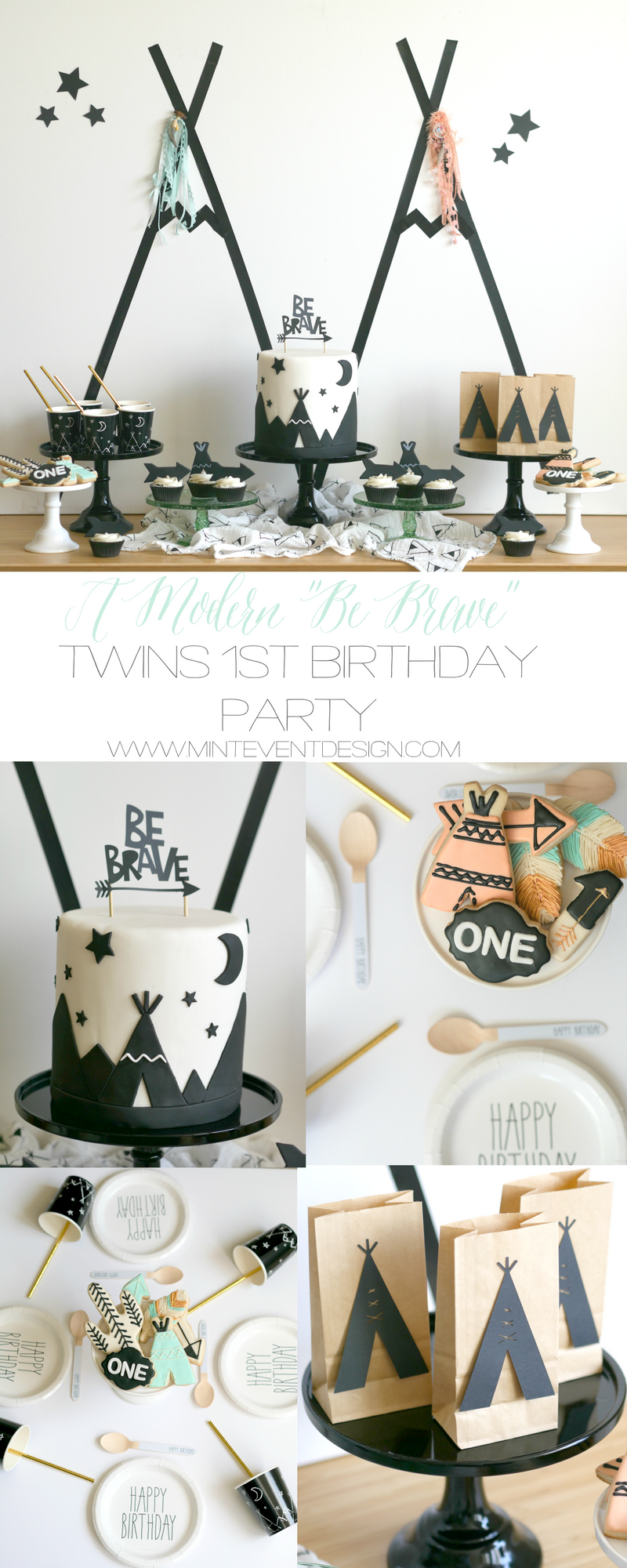 A Modern Be Brave Twins Party #decorationevent
