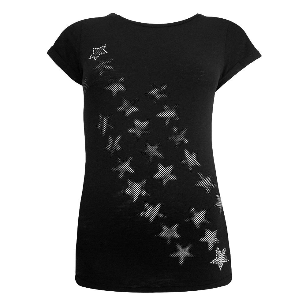 Black short sleeved t-shirt with cascading star print in silver.