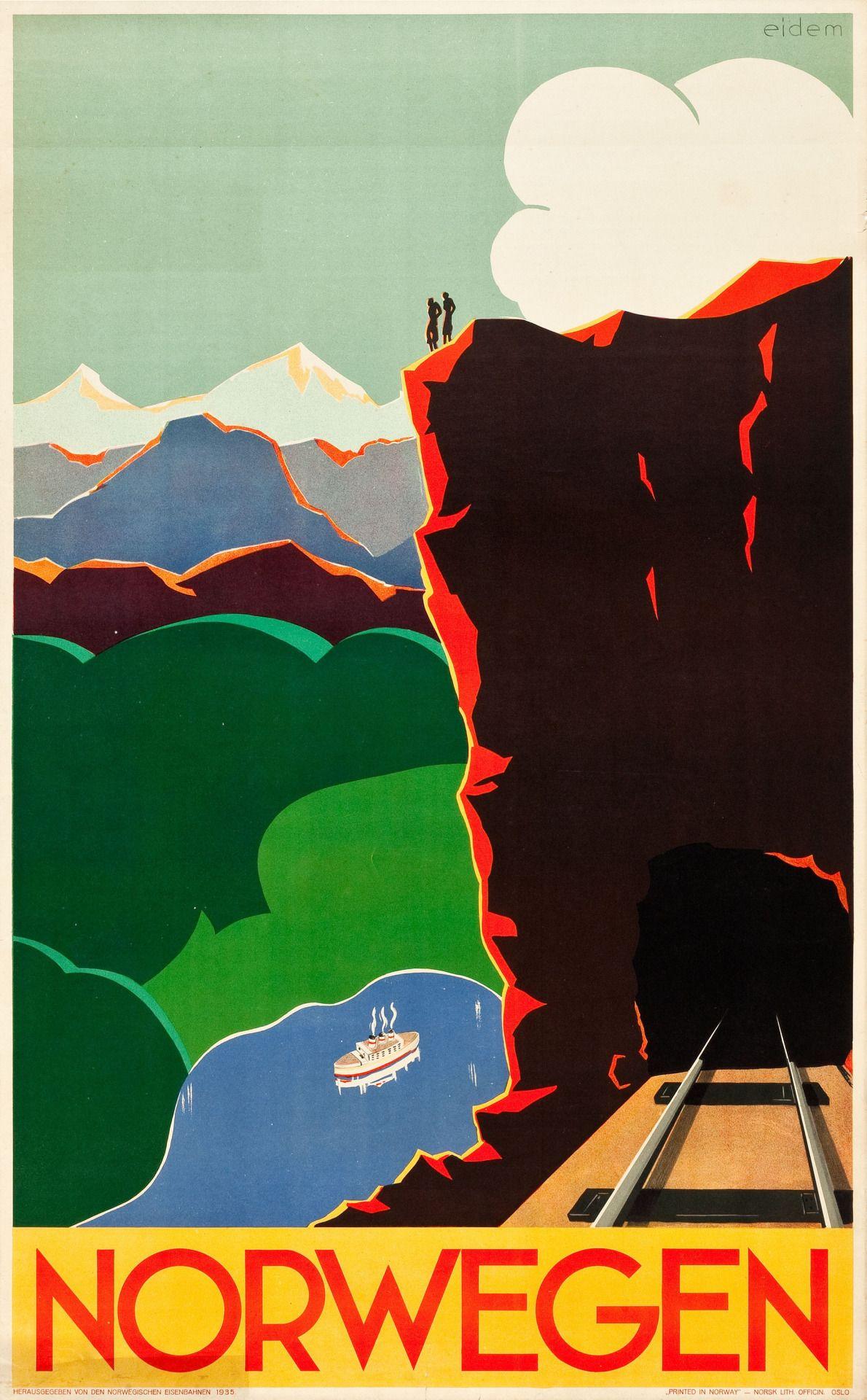 Norway Norwegian Scandinavia Scandinavian Europe Travel Poster Art Advertisement