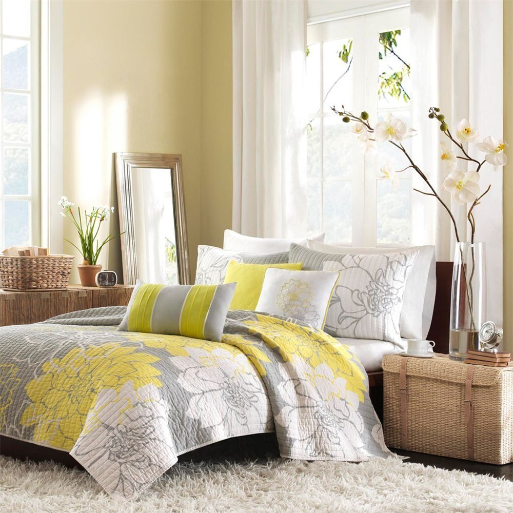 Attractive Yellow Gray And White Bedroom Ideas Part - 7: Amber, Gold And Yellow Bedroom Design Ideas