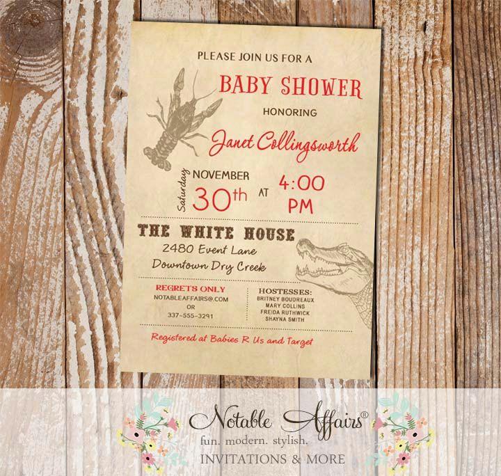 Cajun Style Vintage Crawfish Alligator Baby Shower Bridal Shower ...