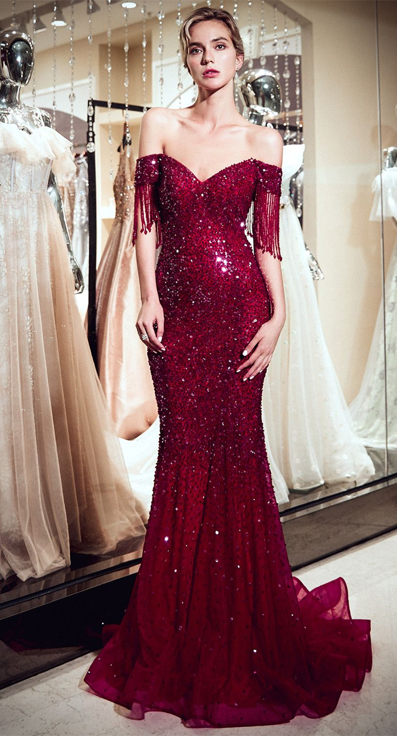 Vintage burgundy mermaid evening gowns sequins long prom