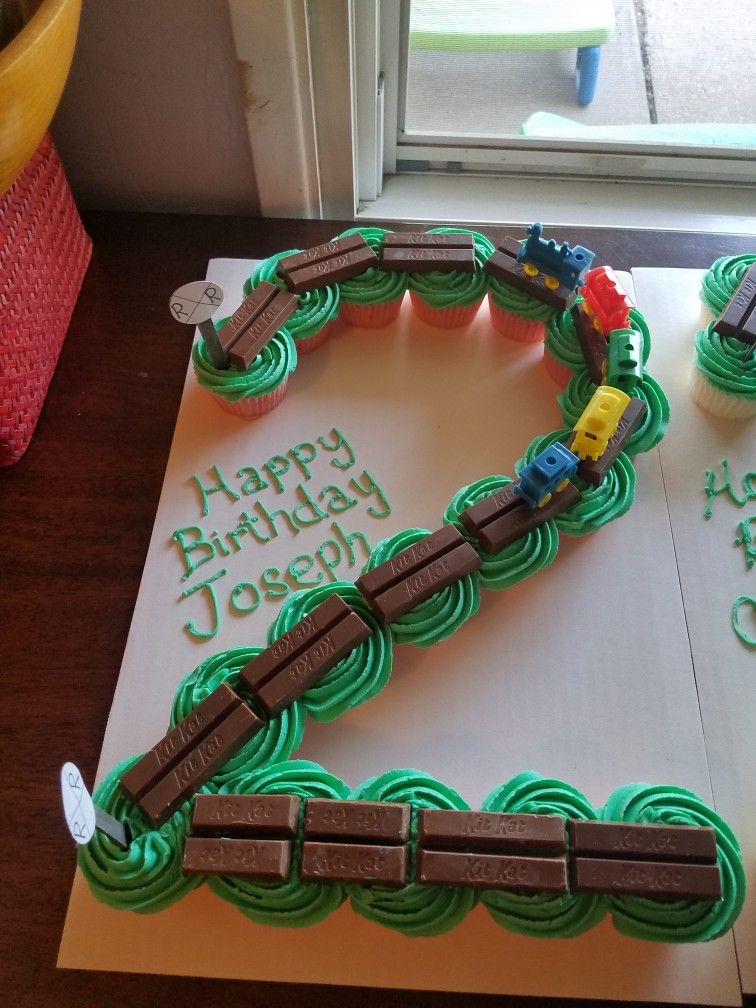 2 Train Cupcake Cake Boy Birthday 2nd Birthday Cake Boy Train