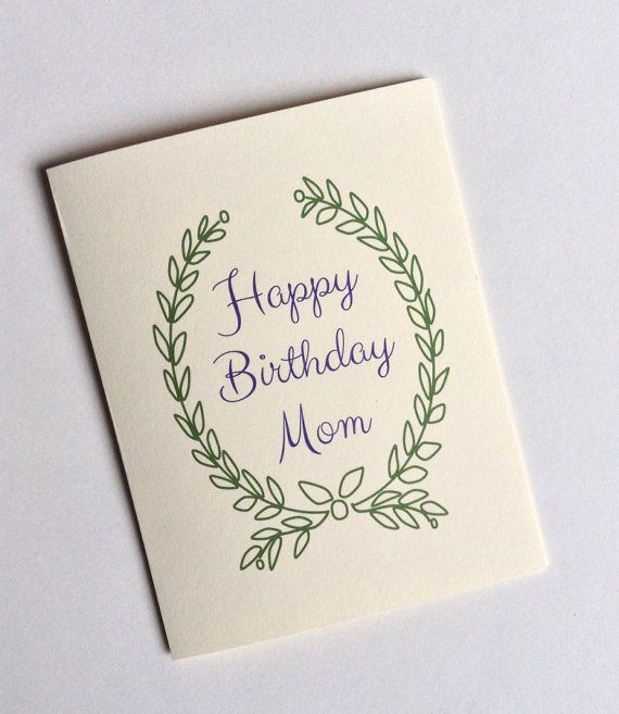 Mom birthday greeting card with wreath by rittenhousetrades 375 items similar to birthday greeting card for mother happy birthday mom in purple script font surrounded by green wreath blank interior on etsy bookmarktalkfo Images