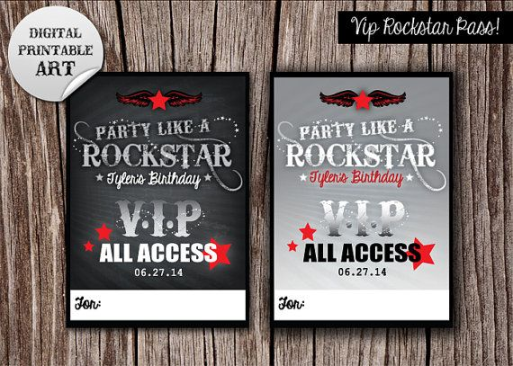 Party Like A Rockstar Theme VIP Backstage Pass by MonElizaDesigns ...
