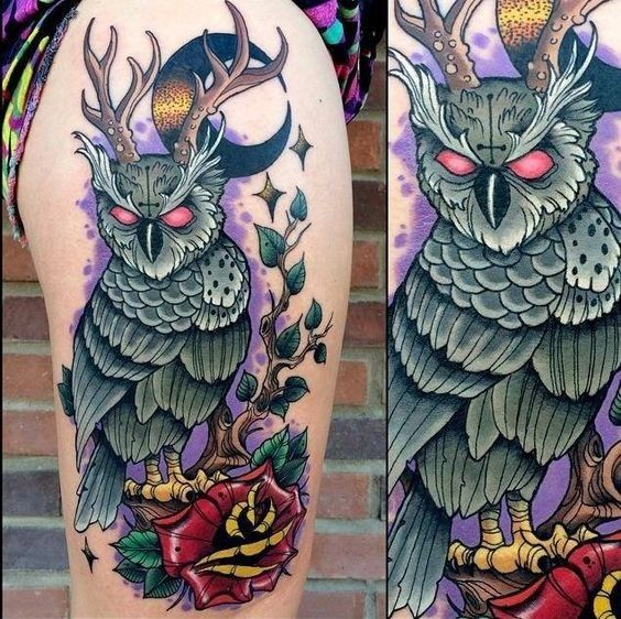 9068f0f19a447 Neo traditional style colored thigh tattoo of demonic owl and rose ...