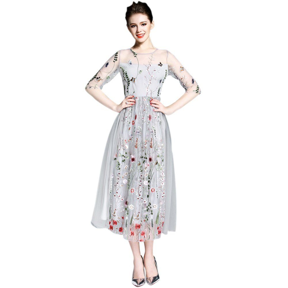 Efinny Damen Floral Boho Kleid Stickerei Strand Langes Kleid Mesh Abendkleider In 2020 Bohemian Dresses Long Maxi Dress With Sleeves