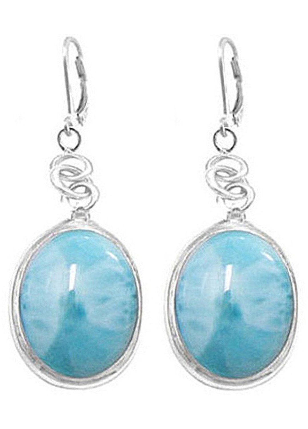 Sterling Silver Larimar Earrings (BTS-NEA3054/LR/R) * Amazing jewelry just a click away  : Jewelry