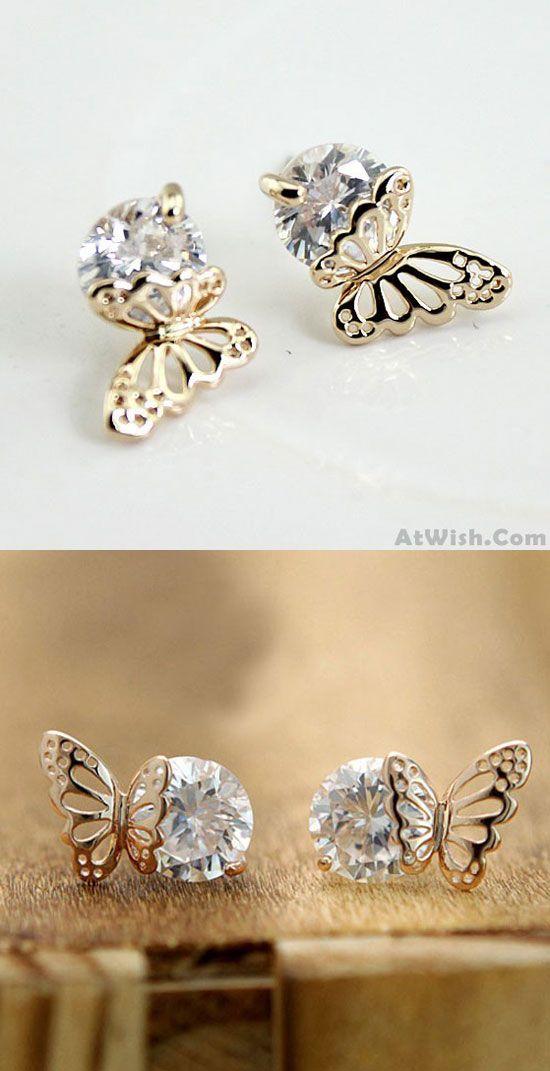 a7a1b4e930a3 Exquisite Elegant Winky Zircon Hollow Golden Butterfly Earrings only ...