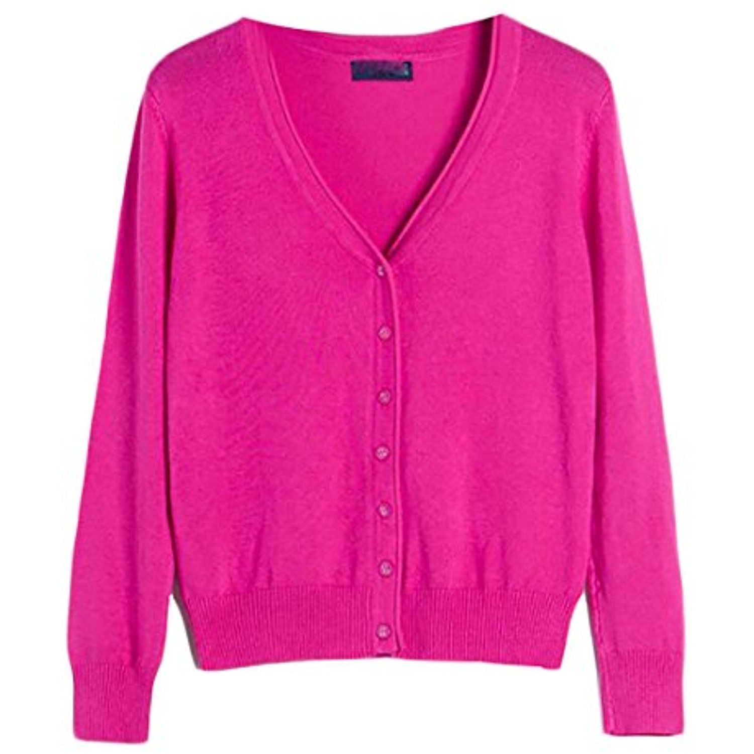 Women's Long Sleeve V-Neck Button Down Knit Cardigan Sweater ...