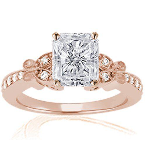 1 Ct Radiant Cut Petite Diamond Fleur Engagement Ring Pave SI2-D GIA 14K ROSE GOLD: Jewelry: Amazon.com
