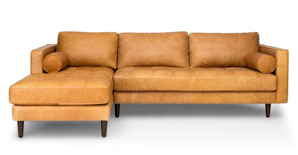 Modern Sectional Sofas Sven Charme Tan Left Sectional Sofa Sectionals Article Modern Mid Century and Scandinavian Furniture