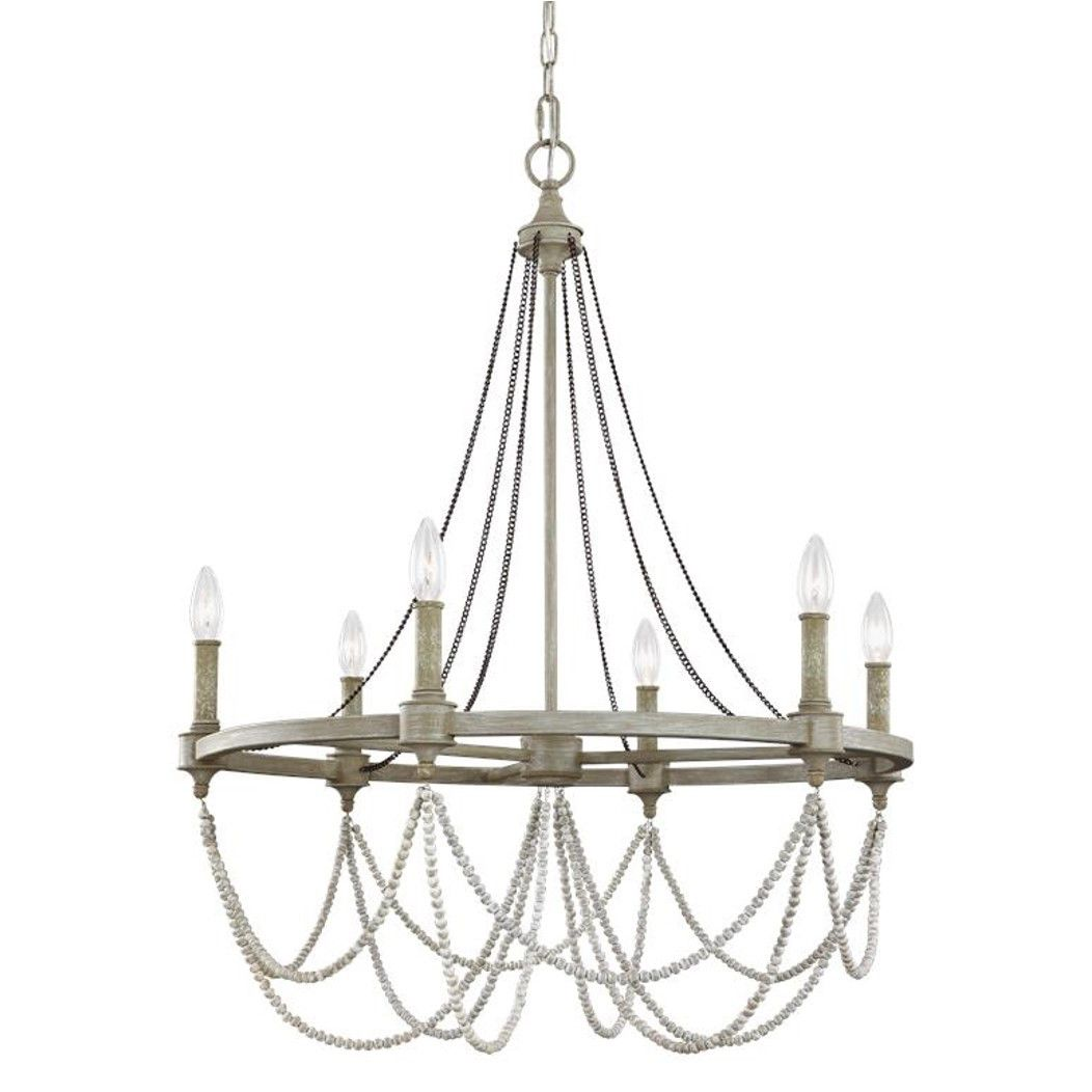 White washed wood sphere chandelier chandeliers by shades of light -  380 Feiss 6 Light Beverly Chandelier In French Washed Oak And Distressed White Wood F3132