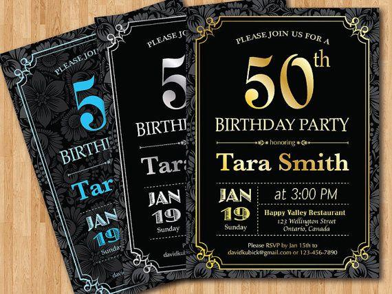 Additional change size of invitation 50th birthday invitations