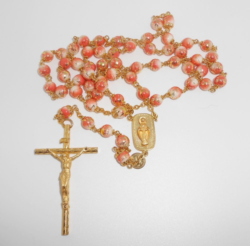 Rosary Gold Drizzle Beads Ring Capped Pinkcoral White Sn Japan