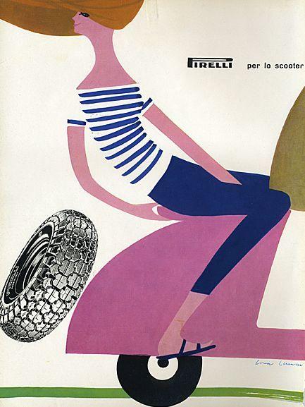 Vintage Pirelli ad   Illustrator: Lora Lamm