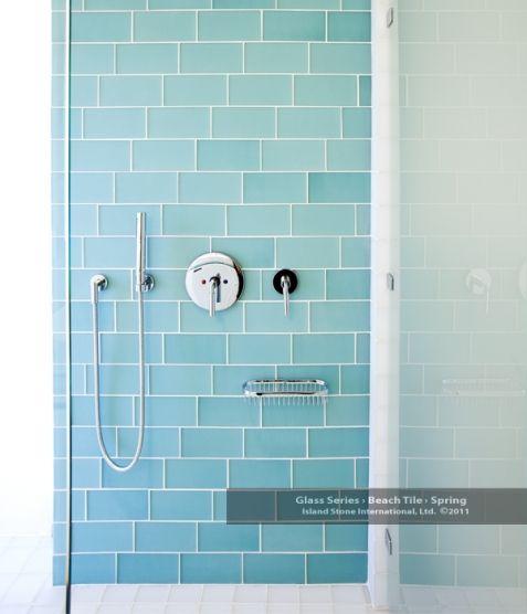 Beach Tile Bathroom in Pure Silk and Spring via islandstone – Glass Tiles in Bathroom