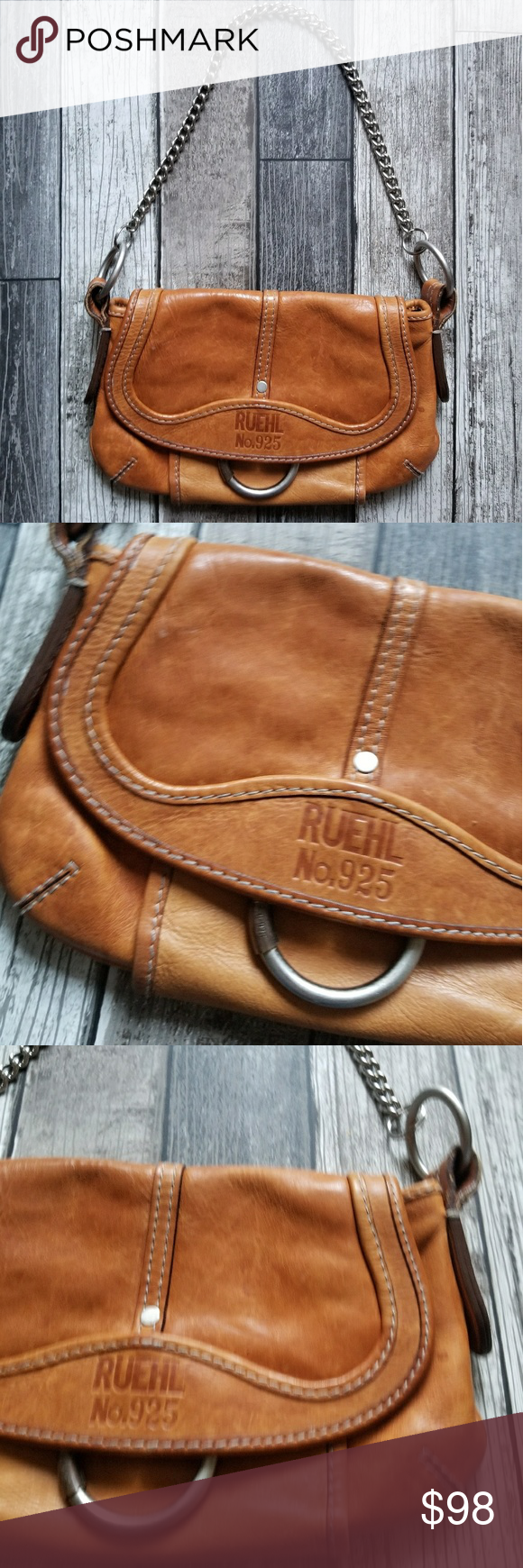 Ruehl No 925 Shoulder Bag Rich Saddle Colored Leather Flap Silver Toned Chain