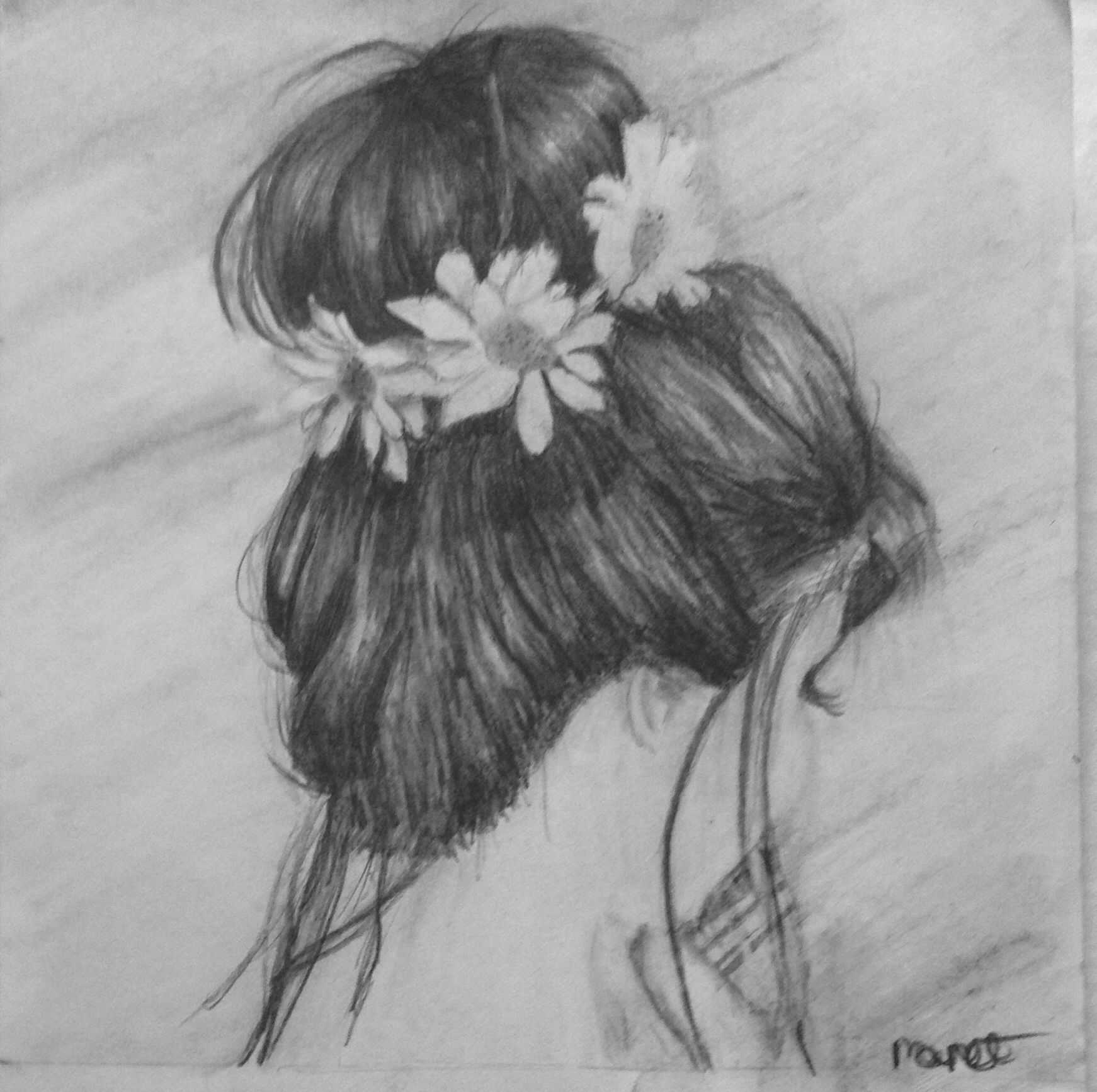 Black and white drawing of a girl with a flower headband and