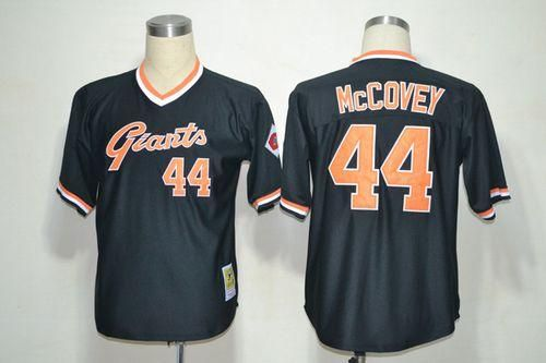 buy popular 4dce9 31169 Mitchell And Ness Giants #44 Willie McCovey Black Throwback ...