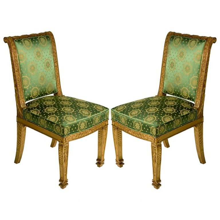 A Pair Of French Empire Gilt Wood Side Chairs