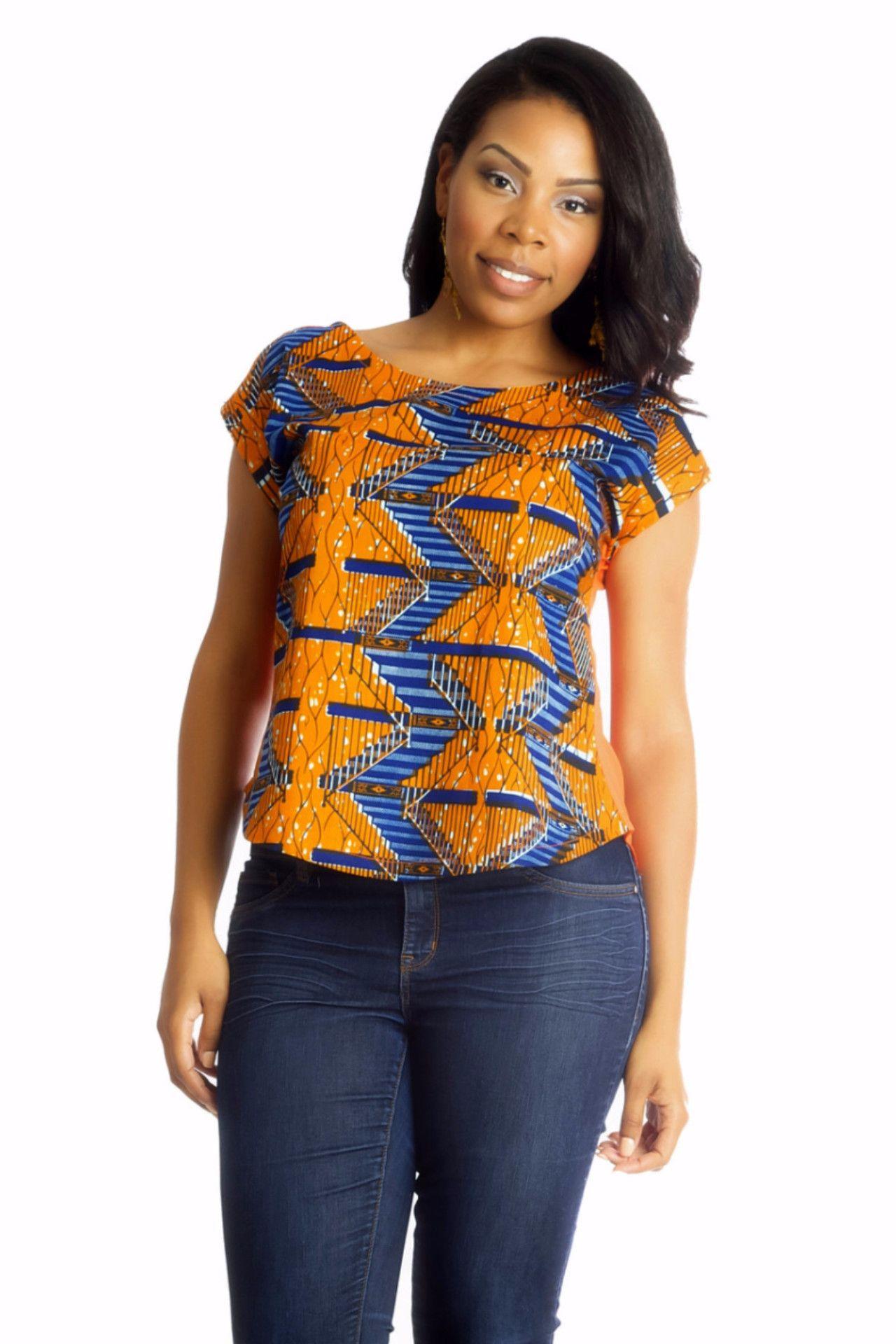 Blue Cross Back Ankara Top African Print Top Ankara Top African Women Blouse African Womens Clothing African Blouse Ankara Clothing
