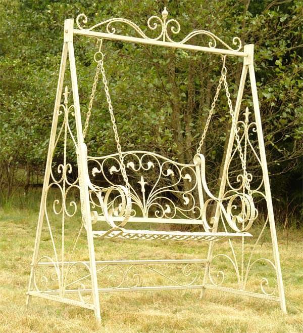 Balancelle style anglais victorien en fer forg blanc for Banc anglais jardin