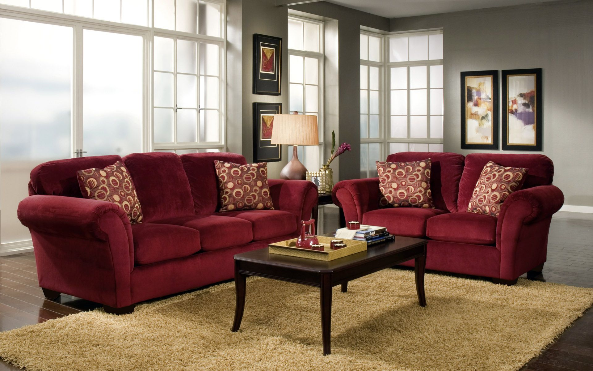 Cabot Red Sofa Love Seat Casual Living Room Furniture Set