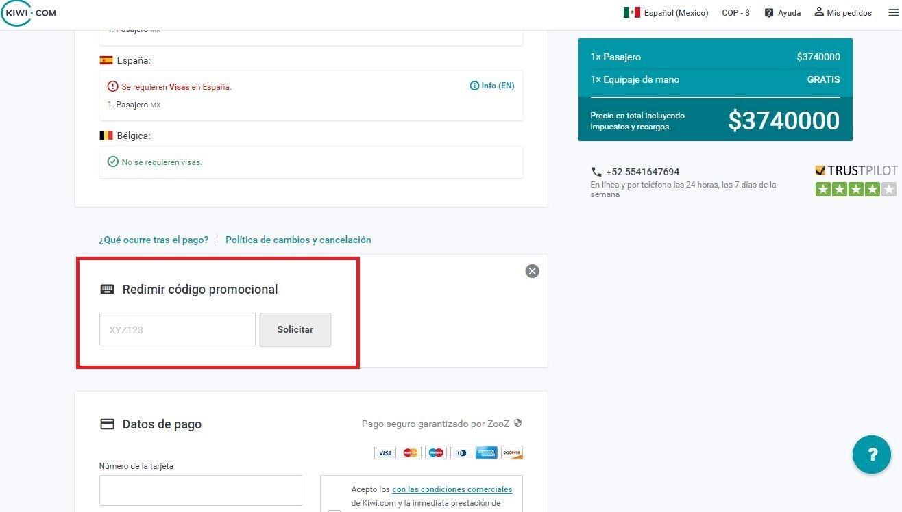 Descuento Código Promocional Kiwicom Vuelo Cancun Codigo