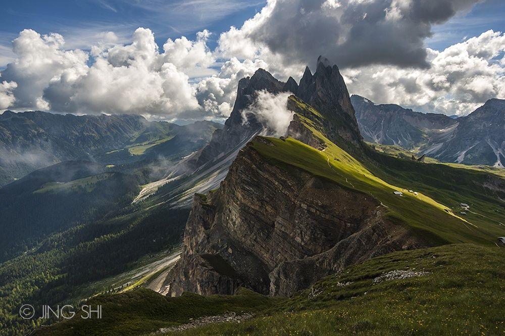 Hiking the slopes of Seceda in the Italian Dolomites.
