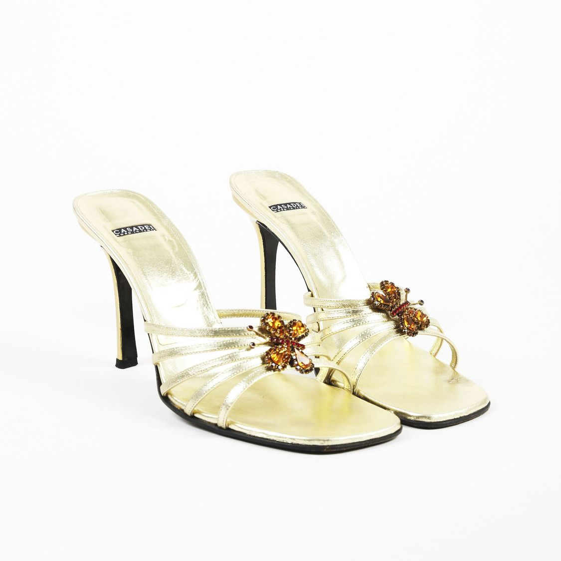 f6937fbf19 Casadei Metallic Gold Leather Butterfly Embellished High Heel Mule Sandals
