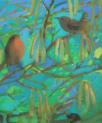Louise Waugh  Robin Wren and Catkins in Spring  Acrylic on canvas  30cm x 20cm