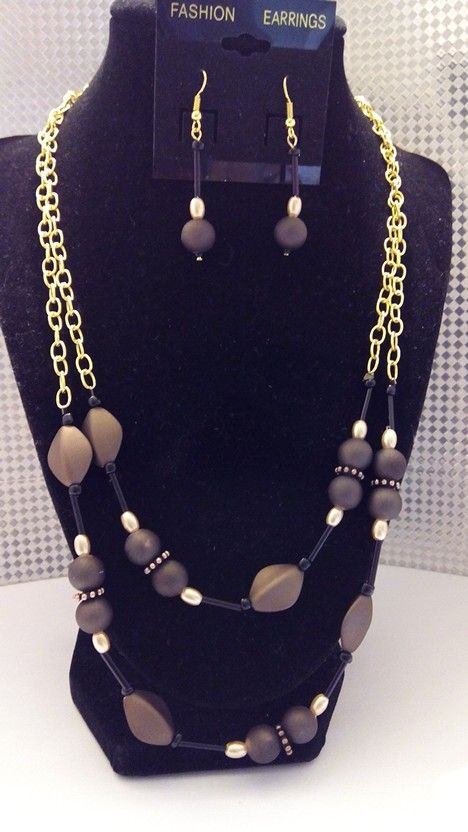 2 strand Gold chain with brown and black beads. Matching earrings.