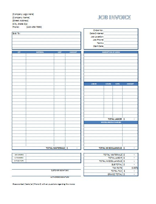 Job Invoice Template - Free Download - SpreadsheetShoppe work - invoice free download