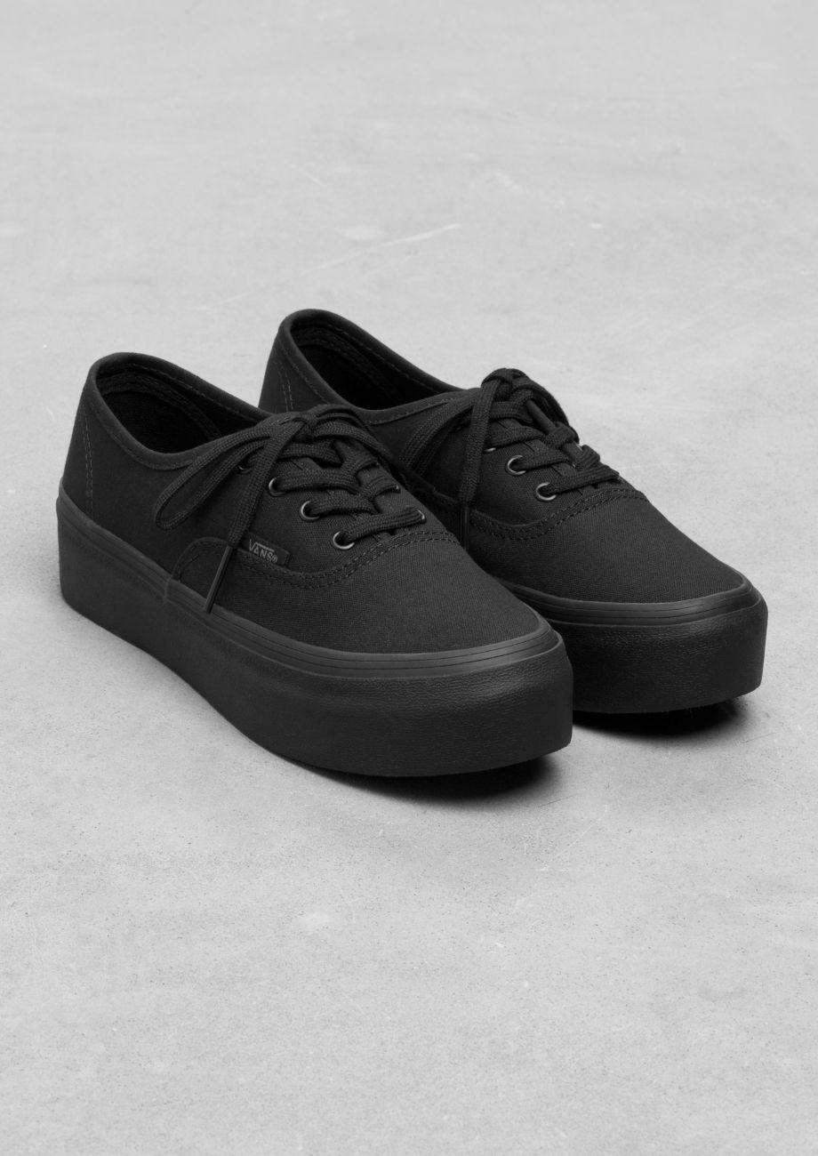 all black vans platform