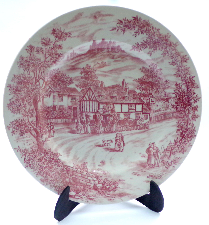 Pink Swan Inn Dinner Plate Churchill England Red Decor Tableware Collection The Swan Inn
