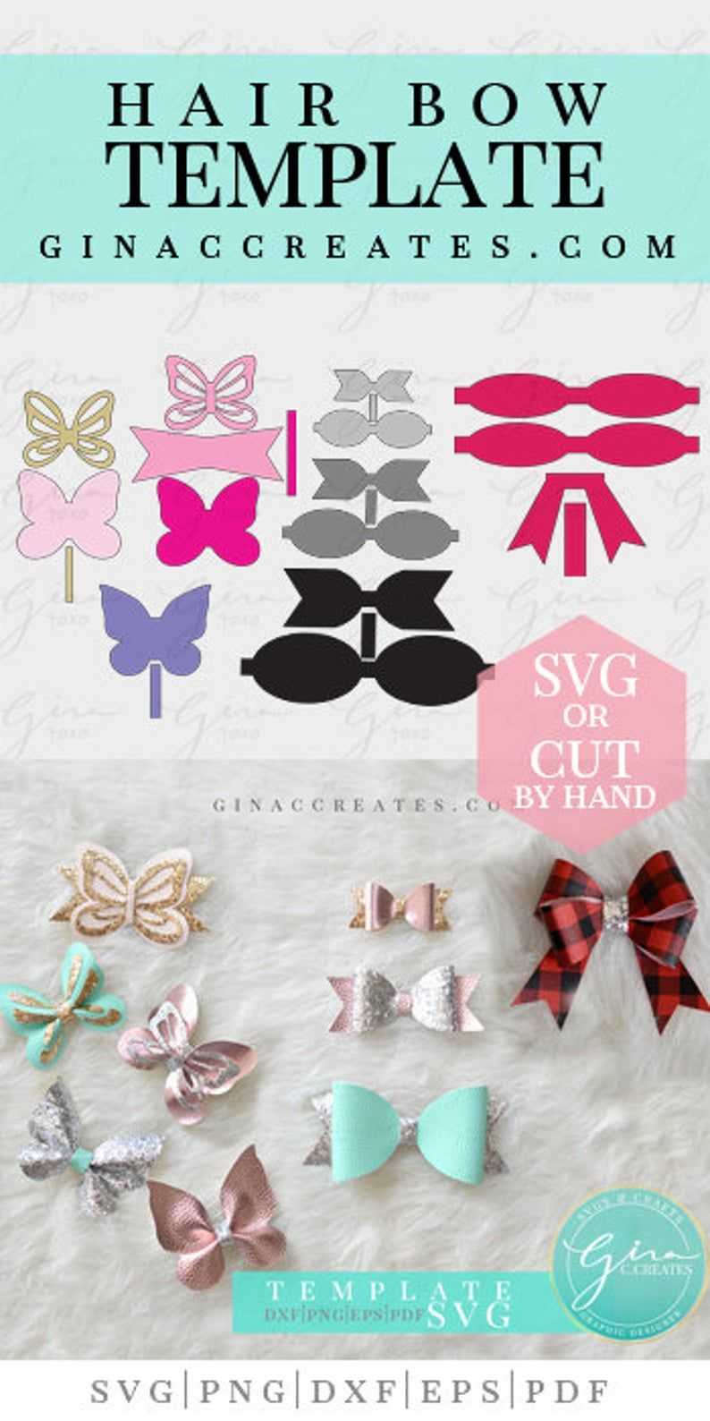 Hair Bow Template Bundle, Standard Bow 3 sizes, Double bow, Butterfly Bow, Printable Bow Template and SVG