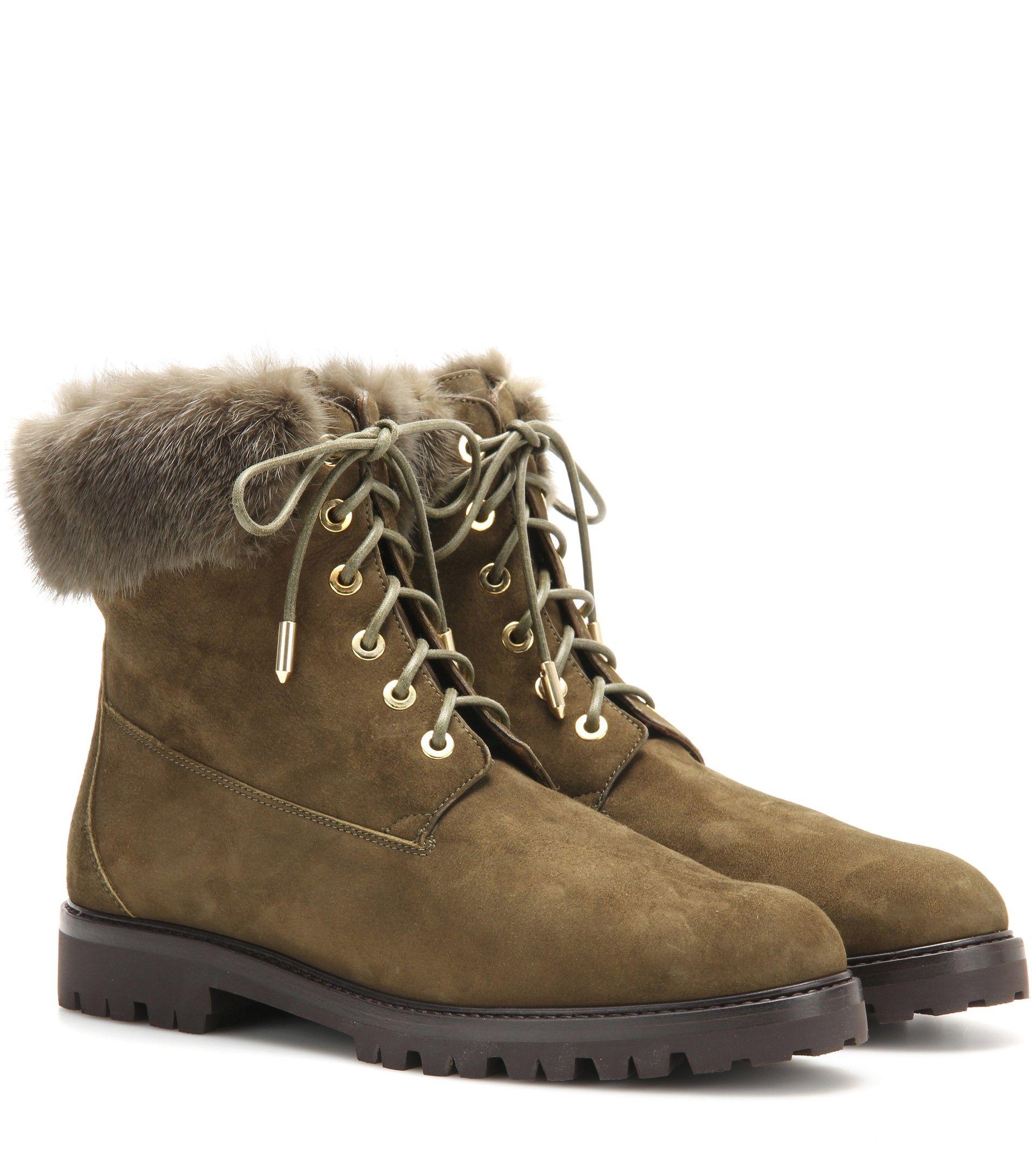 Aquazzura The Heilbrunner fur-trimmed suede boots Military Green $149.00