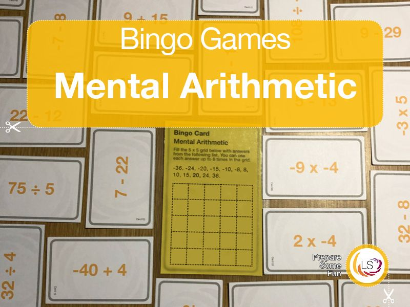 Arithmetic with Negative Numbers Bingo Game in 2020