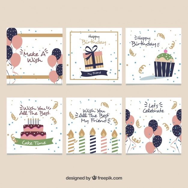 Download Set Of Six Vintage Birthday Cards For Free Creative Birthday Cards Birthday Card Design Birthday Cards