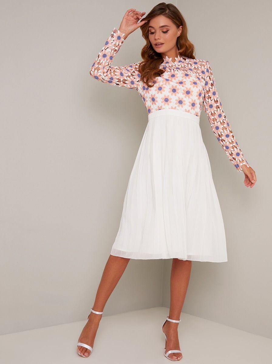 Lace Crochet Long Sleeve Midi Dress In White Long Sleeve Midi Dress Dresses White Dress [ 1200 x 896 Pixel ]