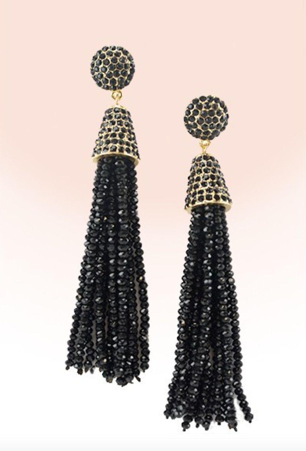 7d50e1bef BLACK TASSEL BEAD FRINGE EARRINGS   Products   Fringe earrings ...
