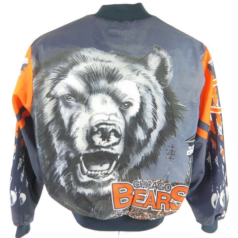 vintage 80s chicago bears chalk line jacket mens xl nfl football usa